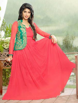 Pink embroidered net semi stitched Jacket gown with dupatta
