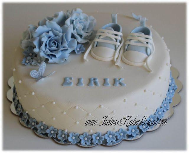 Iselins Kaker: Dåpskake med roser og baby converse sko