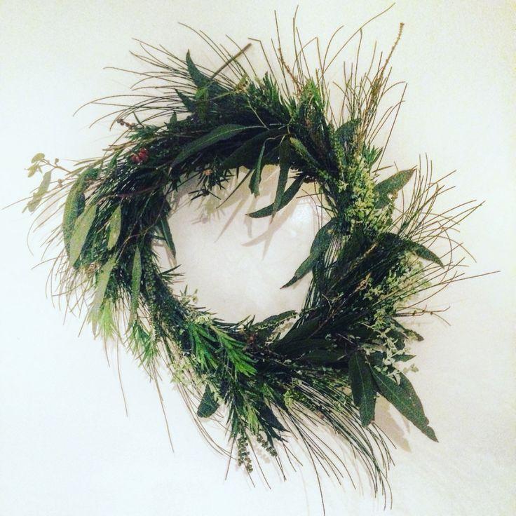 DIY rustic twig country Christmas wreath. Australian foliage.
