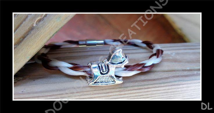 Bracelet en véritables crins de cheval alezan et blanc tressé en corde, fermoir magnétique et perle passante cheval : Bracelet par doudoux-crins