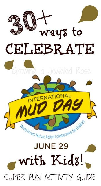Mud, glorious mud!  International Mud Day is June 29th!  This activity guide is PACKED with SUPER FUN ACTIVITIES for kids to celebrate and have fun with MUD all Summer long!