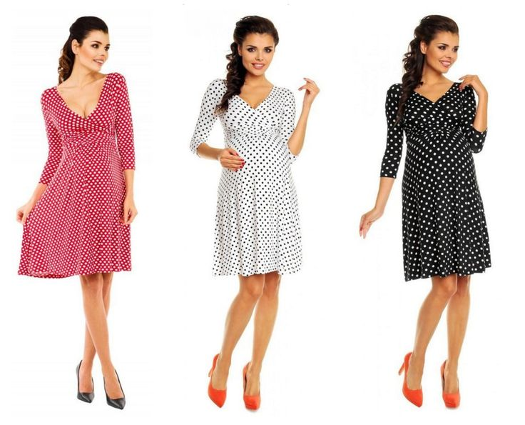 Polkadot Maternity Dress with flared skirt