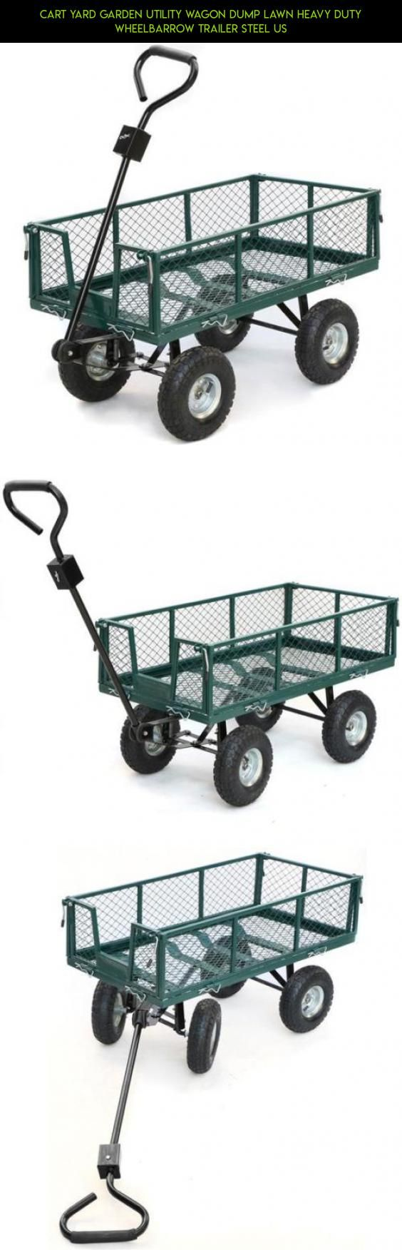 Cart Yard Garden Utility Wagon Dump Lawn Heavy Duty Wheelbarrow Trailer Steel US #racing #camera #tech #technology #drone #cart #gardening #parts #products #gadgets #shopping #fpv #utility #kit #plans
