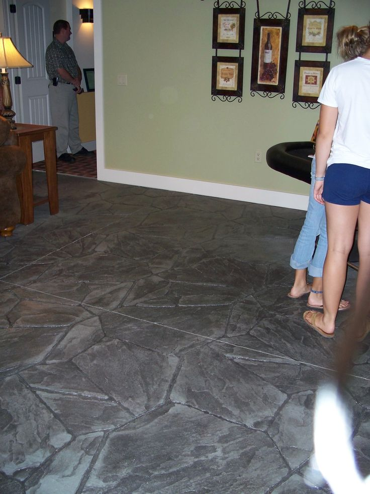 Stamped concrete basement floor ideas for the house for Basement flooring over concrete
