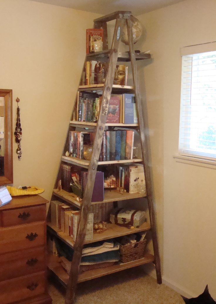 Exciting Ladder Bookcase For Home Furniture Ideas: Rustic Wood High Ladder Bookcase With Dresser And Cream Wall For Home Decoration Ideas