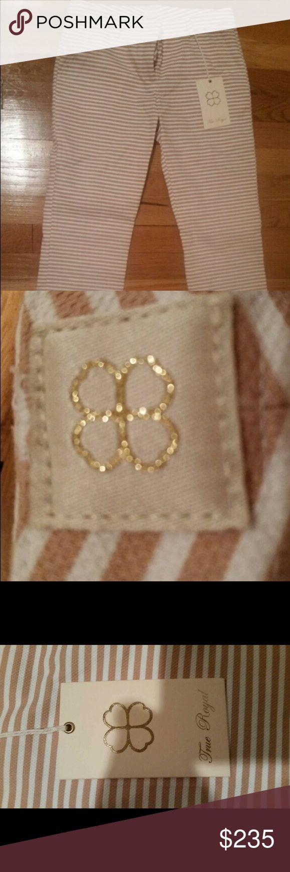 True Royal Stripe Pants Stripe bottom tan and white True Royal pants. True Royal Pants