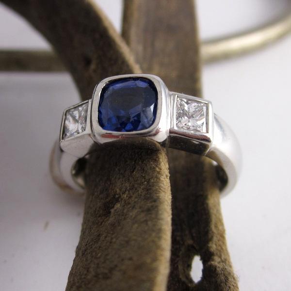 Cushion Cut Sapphire and Diamond Ring | Geoff Taylor Goldsmith