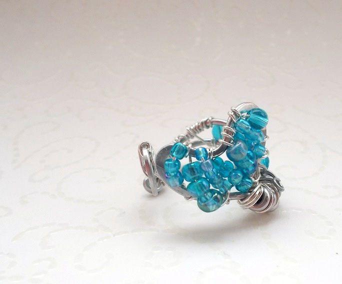 Glasring Einzelstück/Elfe Fee Spirale Herz Handarbeit UNikat  Aludraht NEU Blau