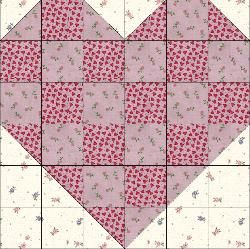 Great heart block or heart quilt... could use smaller squares and make 4 or 6 hearts in a quilt, or use really big blocks and make a single big heart lap quilt