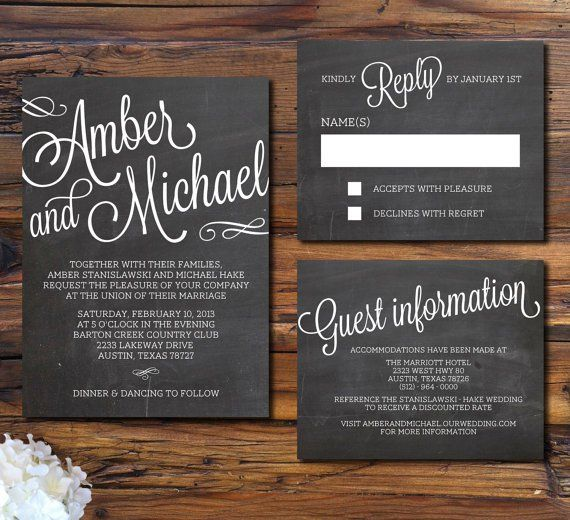 A wedding invitation that looks like a chalkboard  Great wording for rsvp and hotel info