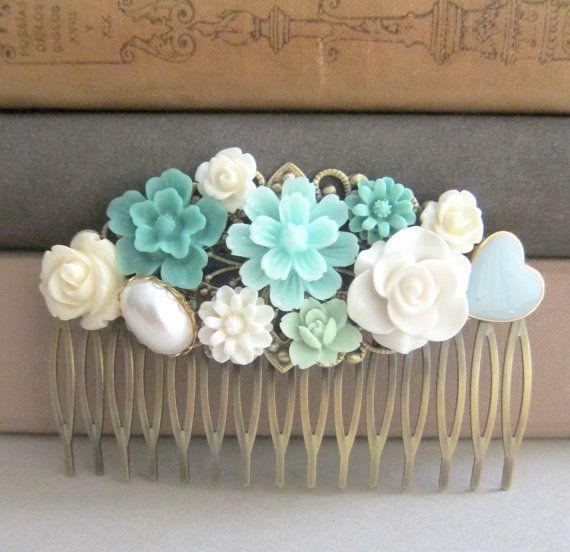 Turquoise Hair Comb Tiffany Blue Wedding Pastel by Jewelsalem, $17.00  Keywords: #tiffanyblueweddings #jevelweddingplanning Follow Us: www.jevelweddingplanning.com  www.facebook.com/jevelweddingplanning/