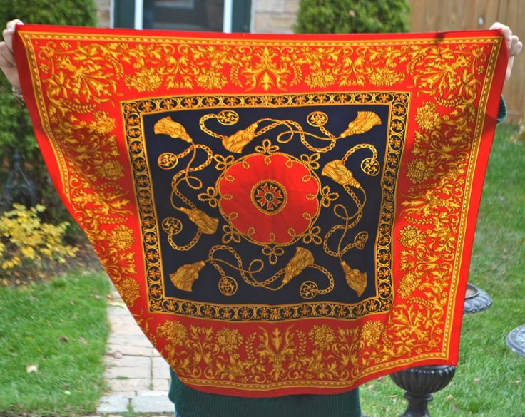 VINTAGE ITALIAN SCARF Vintage Large Square ItalianTie Rack Designer Scarf Red Navy Gold Vintage AntiquTassel Chain Italy 100% polyester by StudioVintage on Etsy