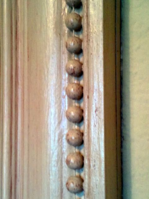 Mirror Makeover-plastic beads glued in groove and painted
