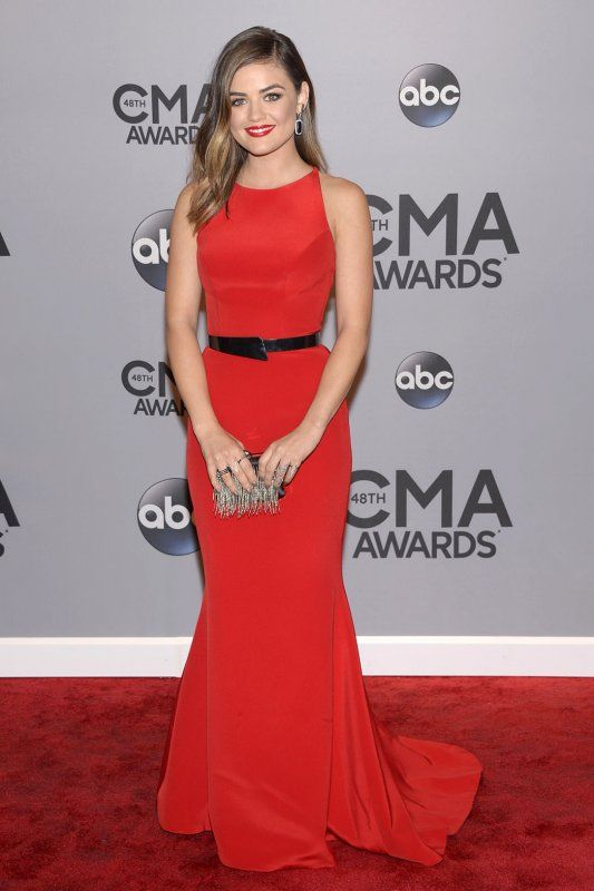 Lucy Hale at the 2014 CMAs in a Romona Keveza gown with an asymmetrical back and black belt