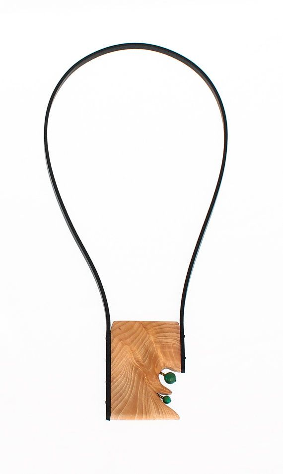 Long wood necklace - turquoise necklace - wooden pendant necklace
