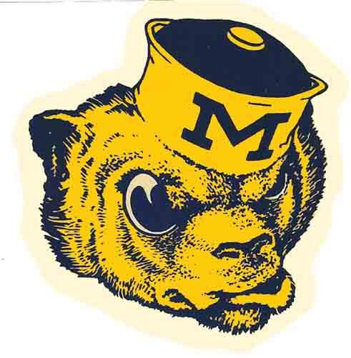 University of Michigan WOLVERINES Vintage-1950's Looking Travel Decal/Sticker