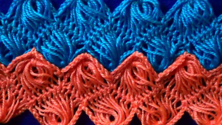 Вязание на вилке  Узор Зигзаг из веерочков