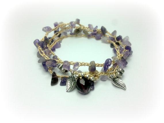 wrap bracelet Amethyst Boho Bohemian crochet by theflowerdesign, $42.00