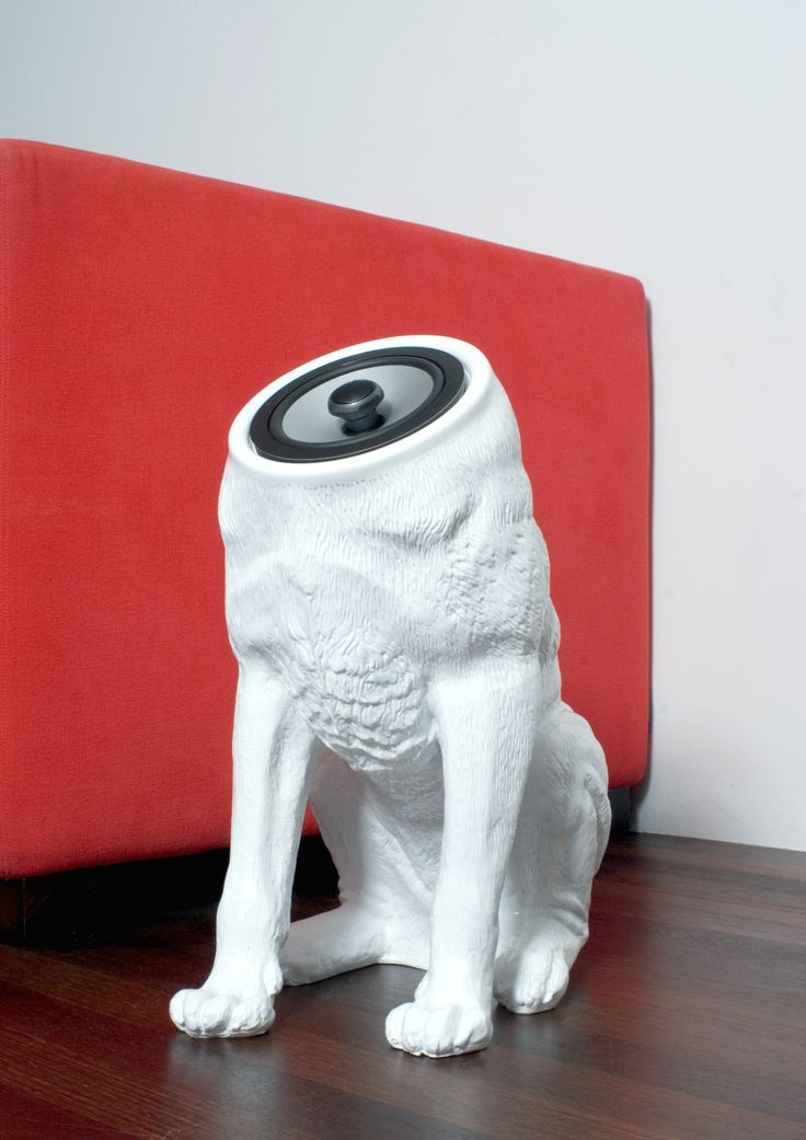 Woofers speakers by Sander Mulder. This is functional kitsch; the wrong becomes the new right. By adding a function to an otherwise grotesque object, it acquires new aesthetic values, becoming an object of desire. Pun intended; these woofers hold the midst between a loyal 4 footed companion and an addition to your sound system.  A coaxial speaker system consisting of 2 dogs.