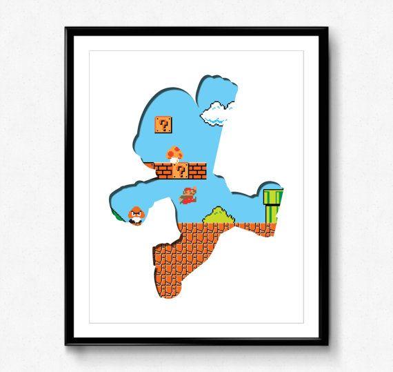 Super Mario Bros - 8 Bit Mario - video game print, wall art, nintendo, pixel, 8 bit art