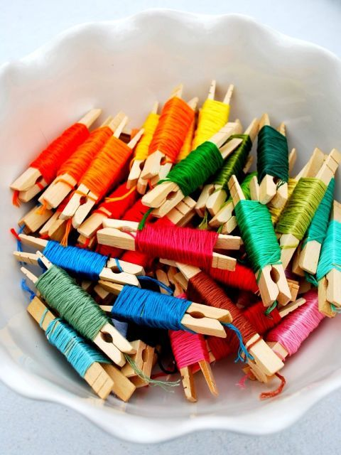 If your kid's got a friendship bracelet habit (or if you love to craft) keep loose embroidery floss from turning into a gnarled pile by wrapping and securing it around clothespins. See more at Mrs. Jones »