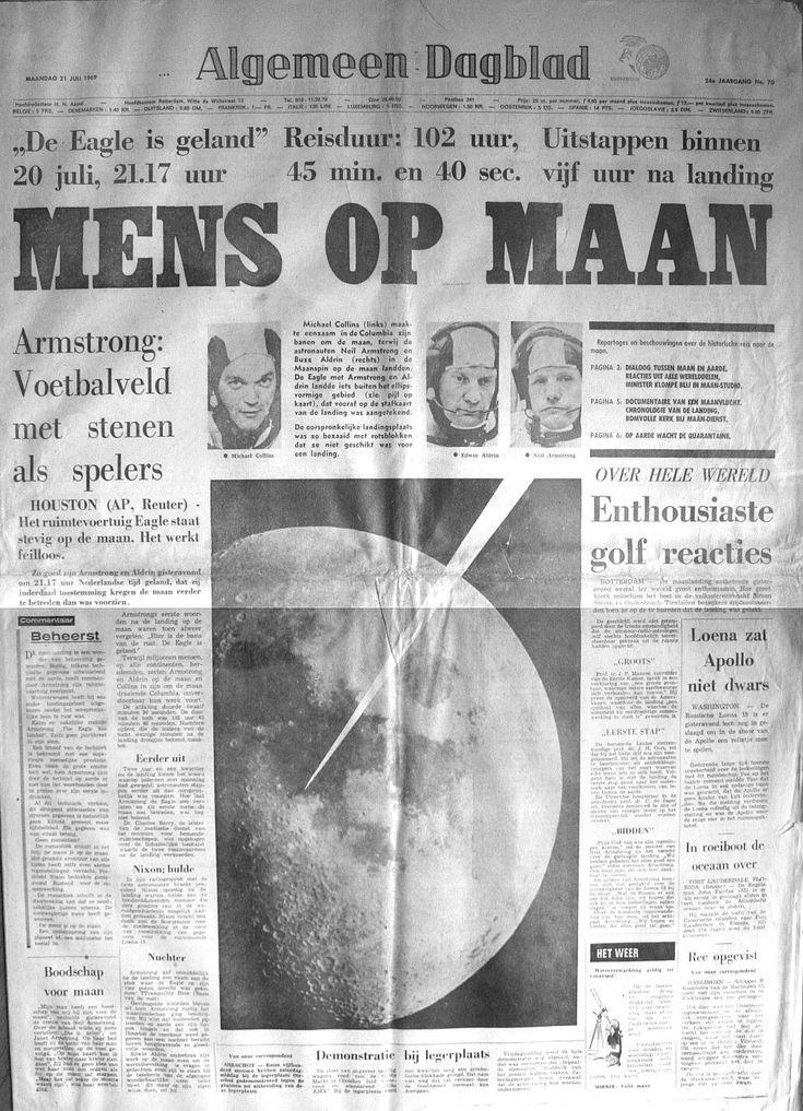 Vandaag, precies 45 jaar geleden, landde de Apollo 11 op de Maan en zette Neil Armstrong de volgende dag de legendarische eerste stap. Bekijk het Algemeen Dagblad van toen!