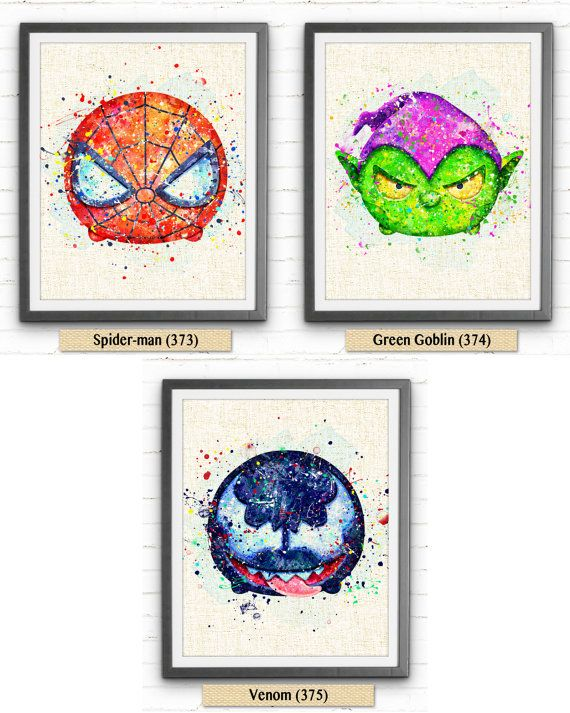 Spiderman Poster Marvel Tsum Tsum Watercolor Art by NeighborArts