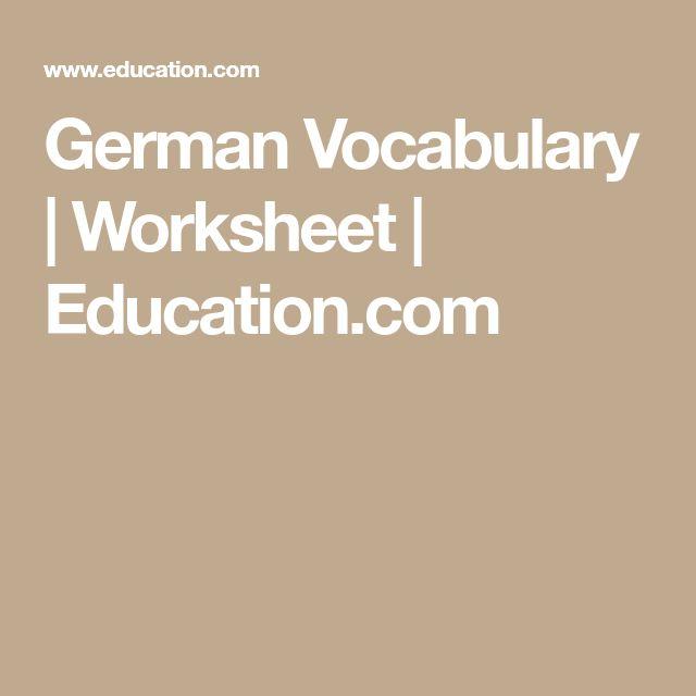 German Vocabulary   Worksheet   Education.com