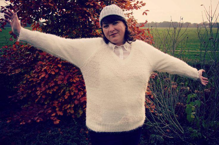 MS Mode, trui met ster, witte trui, grote maten mode