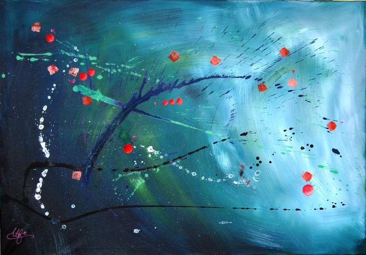 acrylique - printemps spacial - 100 x 70 cm