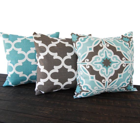 Set of three decorative throw pillow covers for size 18 x 18 inserts in Gray brown, teal/light teal and white printed on 100% cotton slub