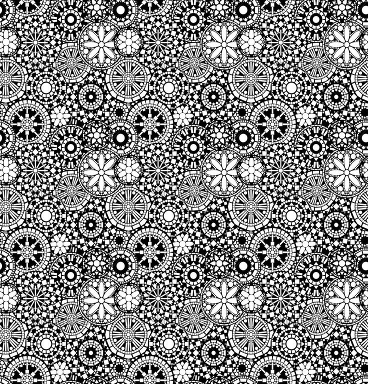 Black and white circle floral mandalas seamless pattern ...