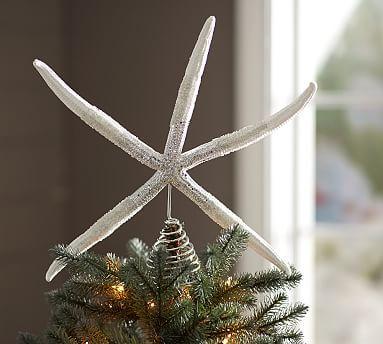 Glitter Starfish Tree Topper #potterybarn
