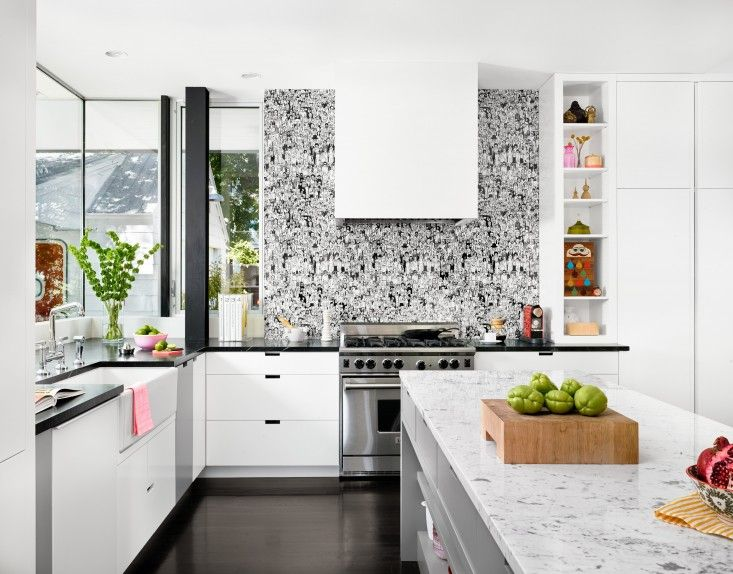 Like The Crowd Wallpaper At Background   Black And White Kitchen With  Soapstone And Carrara Marble Countertops In Palma Residence In Austin Texas  By Hugh ...
