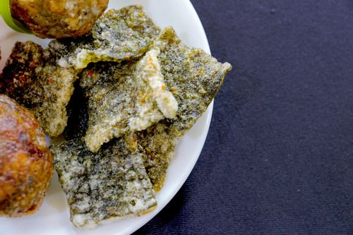 This dish is composed of a seasoned Nori in a crispy cassava batter. Because of rising water levels due to climate change, seaweed will become one of the most abundant ingredients. I used cassava...