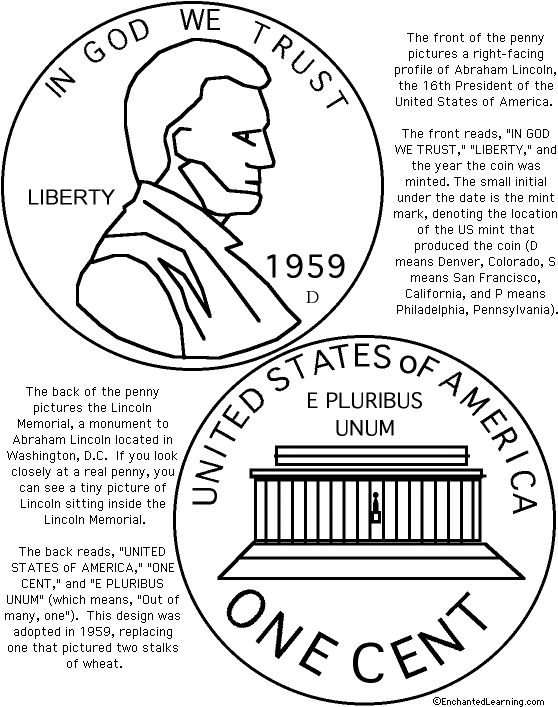 US Penny Coloring Page Printout