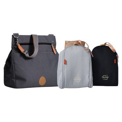 PacaPod 3-in-1 Baby Changing Messenger Bag Oban - Black Charcoal, Almost Black