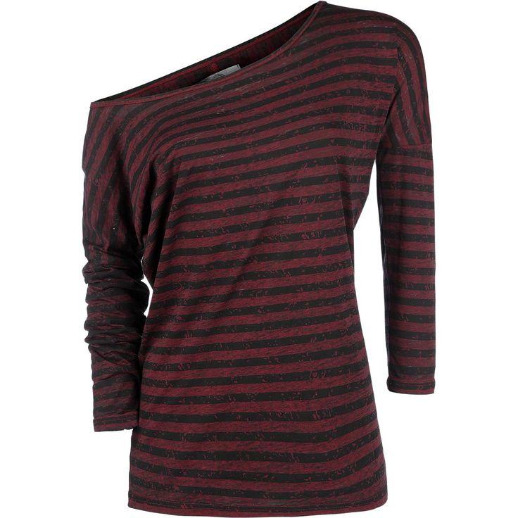 Langermet t-skjorte fra R.E.D. by EMP:  - burnout-effekt - båt-utringning - 3/4-ermer, asymmetrisk skulder - løs passform  Merket R.E.D. by EMP kombinerer avslappet med elegant. Denne langermete t-skjorta har smale striper i rødt og svart og er behandlet med en utvasket burnout-effekt. Den vide båt-utringningen og trekvarts-ermene framhever den kule og behagelige passformen til plagget, og om du vil så kan du vise litt skulder også!
