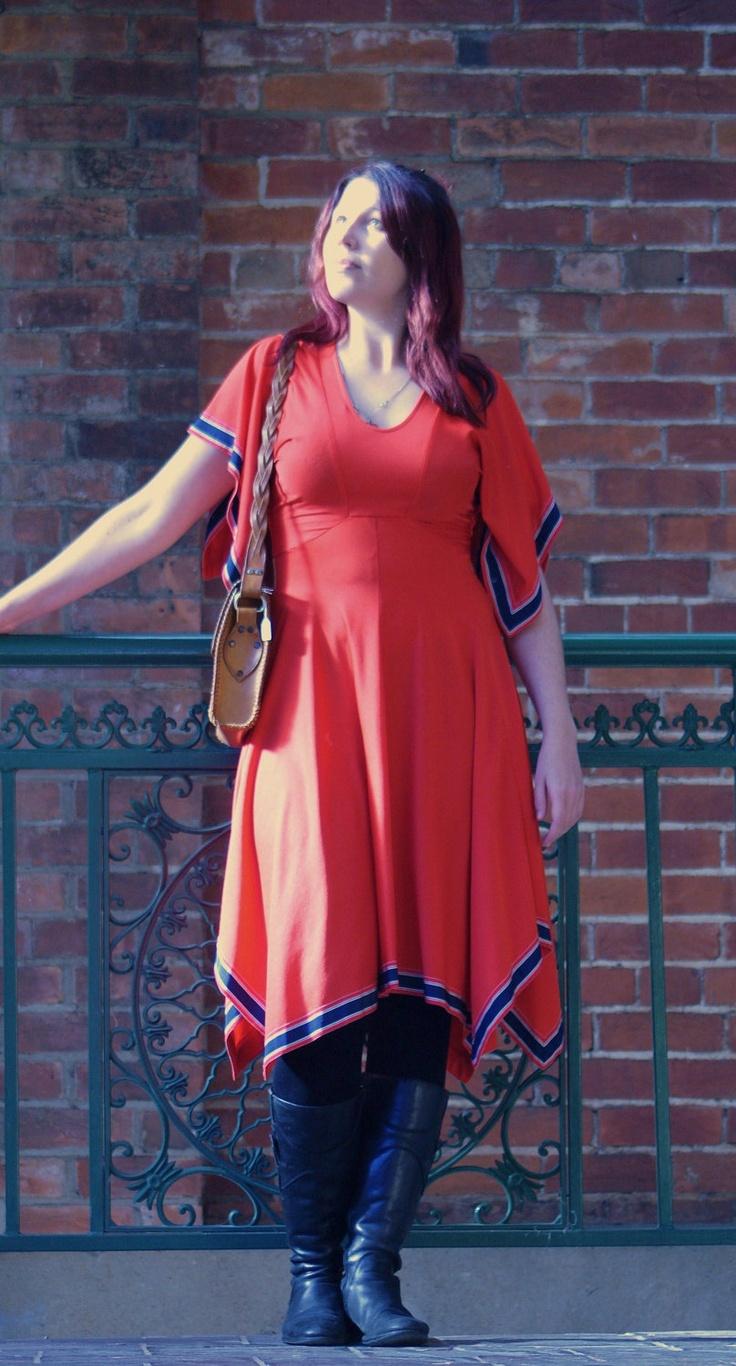 1970s red summer dress with kerchief hem. $75.00, via Etsy.
