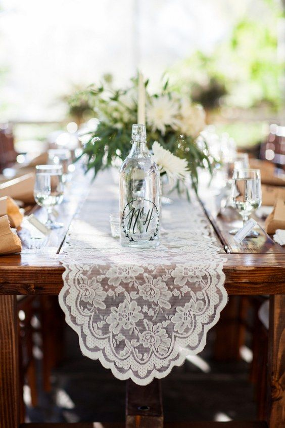 vintage lace wedding table runner / http://www.himisspuff.com/wedding-table-centerpieces-runners/9/