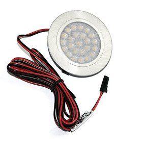 LED Luminaire Encastrable dans Meuble Tim Acier Inoxydable Brossé 3Watt Blanc Chaud: 3200K / 200Lm IP20 Encastrement profond: 20mm / 1,8m…