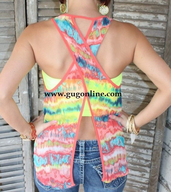 Giddy Up Glamour $21.95 Spring Kaleidoscope Sleeveless Tank with Criss Cross Surprise Back