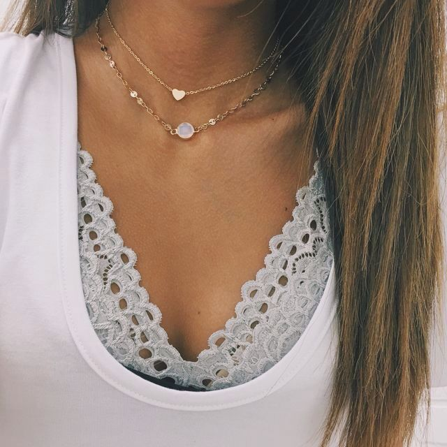gold choker layered necklaces