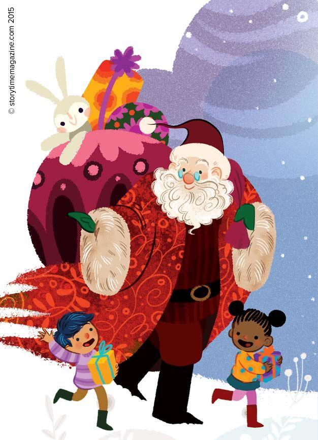 Everyone's favourite hero is Santa, right? Illustration by Lorena Alvarez (http://www.lorenaalvarez.com/93615/illustration). He's our Storytime Issue 15 star! ~ STORYTIMEMAGAZINE.COM