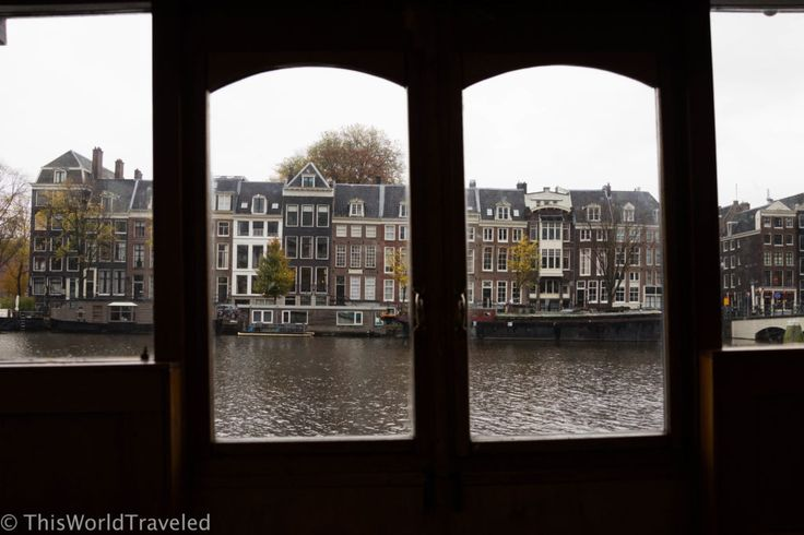 View of the Amsterdam canals from the large section of the houseboat