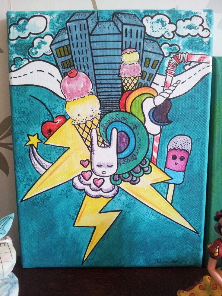 Illustrative street art style acrylic paint, markers and liner paint pens.