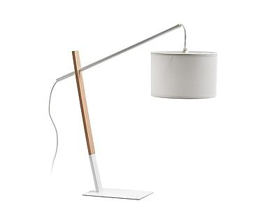 Lampada da tavolo in faggio e cotone bianco Ines - H 60 cm