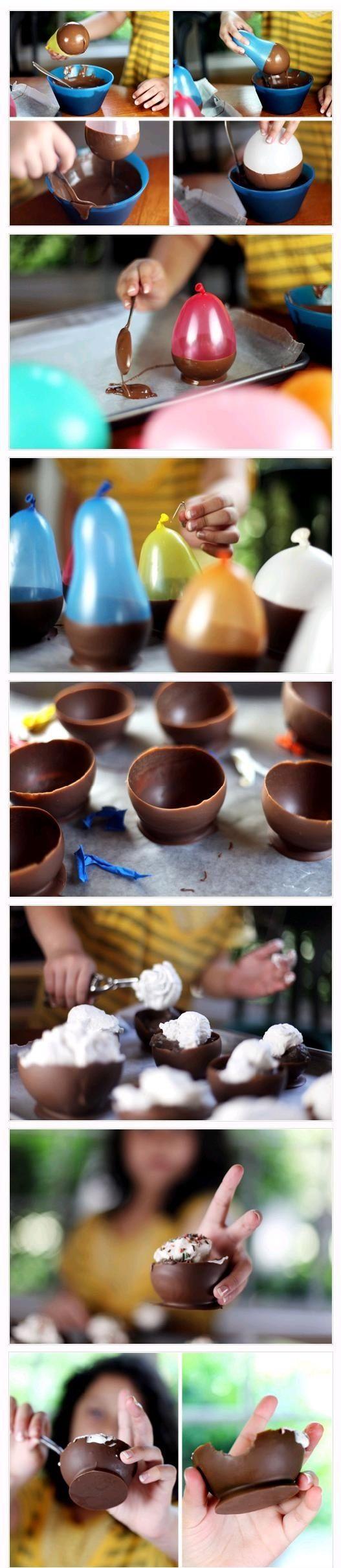 chocolate dessert cups: Desserts Cups, Birthday Parties, Chocolates Cups, Chocolates Desserts, Ice Cream, Chocolates Bowls, Cool Ideas, Great Ideas, Water Balloon