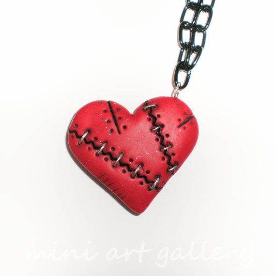 Steampunk Valentine red heart necklace / polymer by MiniArtGallery