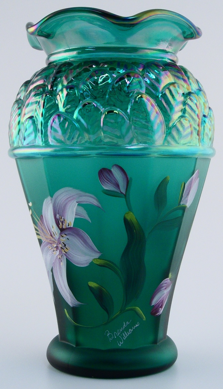 714 best fentoncarnival glass images on pinterest carnival fenton glass collectible green iridescent vase designer showcase series 2001 reviewsmspy